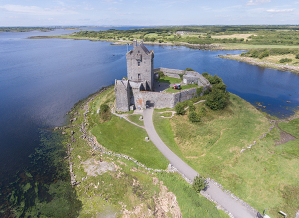 Aerial view beautiful old castle in galway